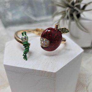 Betsey Johnson Enamel Apple Bangle Bracelet Hinged